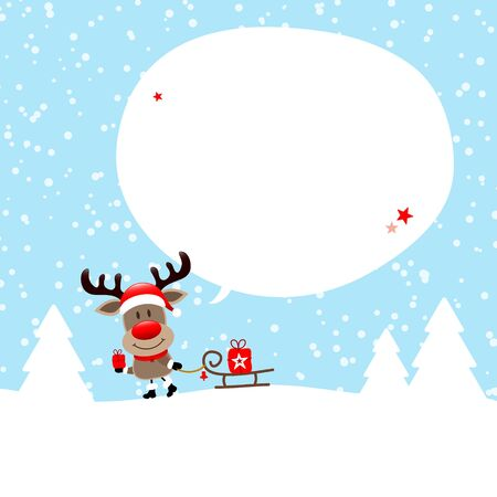 Reindeer With Sleigh In The Forest Speech Bubble Snow Blue Illusztráció