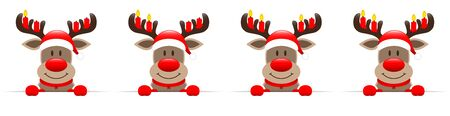 Banner Reindeer With Advent Candles On The Antler