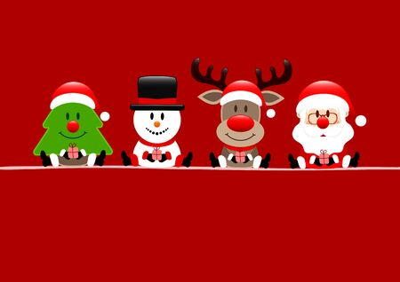 Christmas Card Tree Snowman Reindeer And Santa Red Фото со стока - 131453078