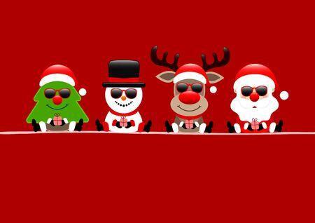 Christmas Card Tree Snowman Reindeer And Santa Sunglasses Red