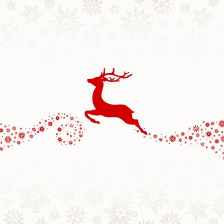 Flying Reindeer With Tail Of Snowflakes Red Beige