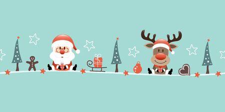 Banner Santa Claus And Reindeer Christmas Icons Turquoise Illusztráció