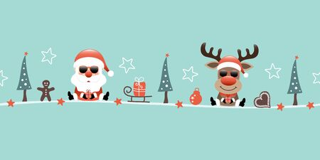 Banner Santa Claus And Reindeer Sunglasses Christmas Icons Turquoise