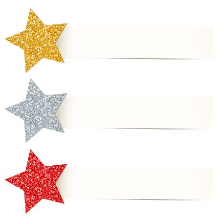 Set Three Beige Banners With Glitter Stars Gold Silver Red