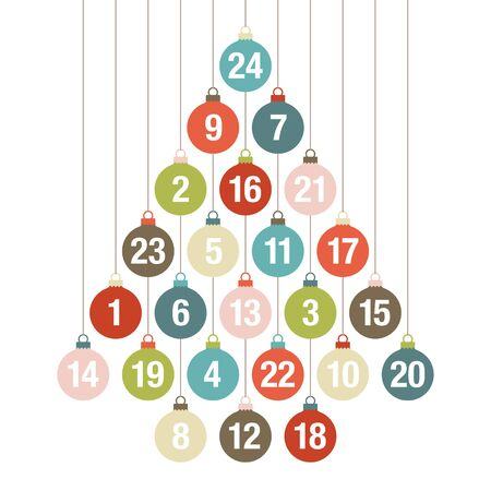 Advent Calendar Christmas Tree Of Hanging Baubles Retro Colors
