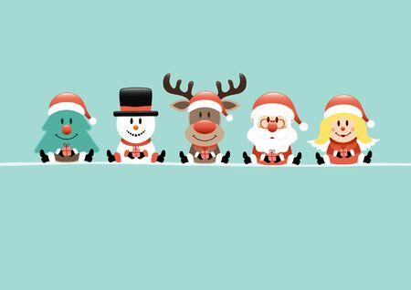 Card Tree Snowman Reindeer Santa And Angel Turquoise