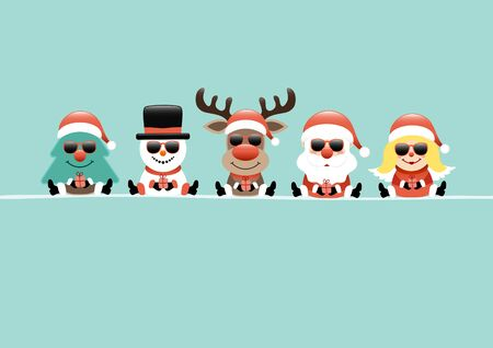 Card Tree Snowman Reindeer Santa And Angel With Sunglasses Turquoise