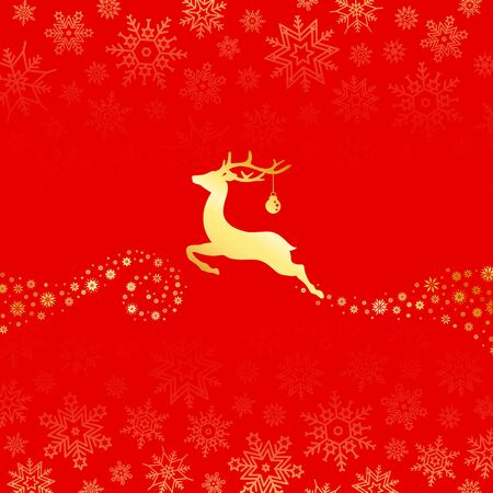 Flying Reindeer With Christmas Ball Snowflakes Gold And Red
