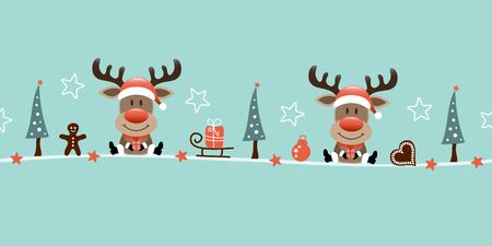 Banner Two Sitting Reindeers And Icons Turquoise Illusztráció