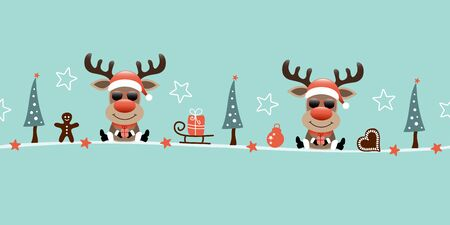 Banner Two Sitting Reindeer With Sunglasses And Icons Turquoise Illusztráció
