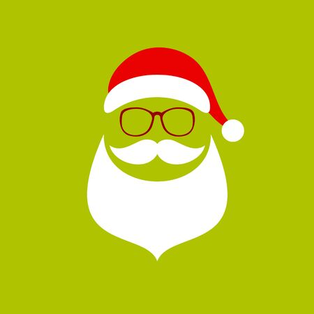 Square Abstract Santa Beard And Glasses Red White Light Green