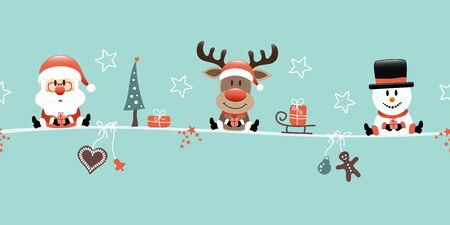 Santa Claus Reindeer And Snowman With Icons Turquoise