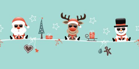 Santa Claus Reindeer And Snowman With Sunglasses And Icons Turquoise Illusztráció