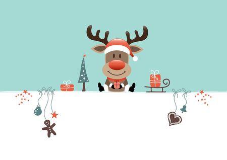 Sitting Christmas Reindeer And Icons Turquoise White Illusztráció