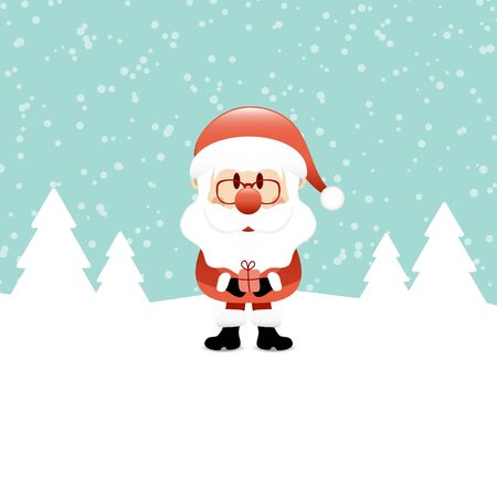 Santa Claus With Gift Standing In The Snow Turquoise