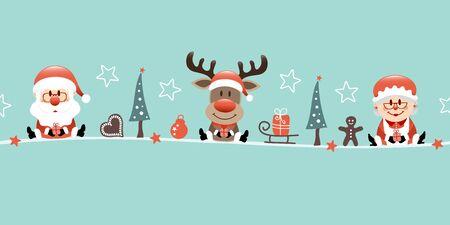 Santa Claus Reindeer And Mrs. Santa With Icons Turquoise Illusztráció