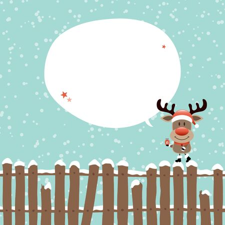 Reindeer With Gift On Fence Speech Bubble Turquoise