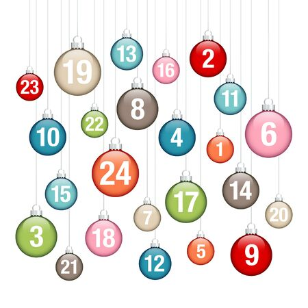 Advent Calendar Hanging Glossy Christmas Baubles Retro Colors