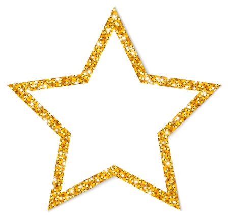 Single Golden Glitter Star Sparkling Frame With Shadow