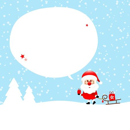Right Standing Santa Claus With Sleigh In The Forest Speech Bubble Snow Blue Illusztráció