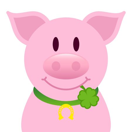 Single Straight Pig With Clover Leaf In Mouth