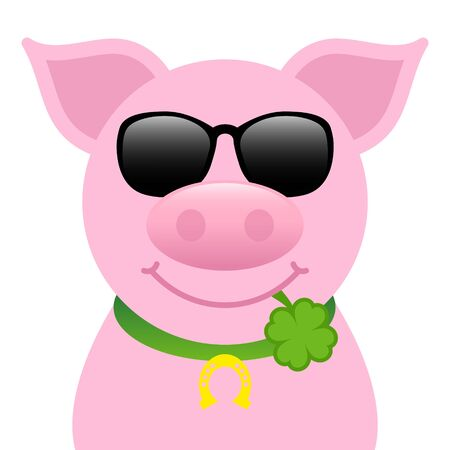 Single Straight Pig With Sunglasses And Clover Leaf In Mouth
