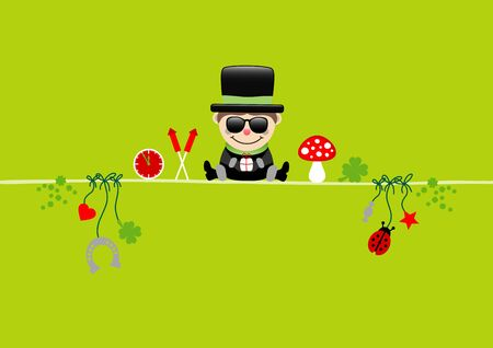 Card Sitting Chimney Sweeper With Sunglasses And Icons Light Green