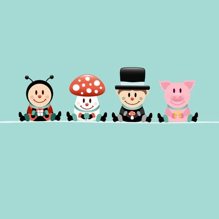 Square Ladybug Fly Agaric Chimney Sweep and Pig Turquoise
