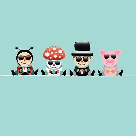 Square Ladybug Fly Agaric Chimney Sweep and Pig Sunglasses Turquoise 일러스트