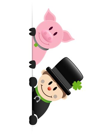 Chimney Sweeper And Pig Right Outside Vertical Banner