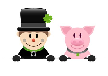 Chimney Sweeper And Pig Wih Gloves Holding Horizontal Banner