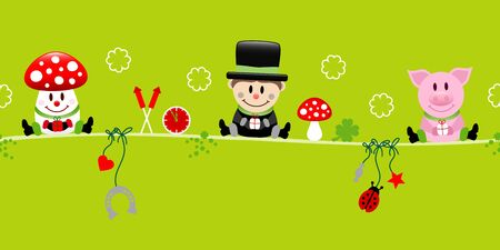 Fly Agaric Chimney Sweeper And Pig Icons New Years Eve Green