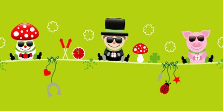 Fly Agaric Chimney Sweeper And Pig Sunglasses Icons New Years Eve Green