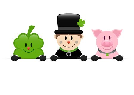 Clover Leaf Chimney Sweeper And Pig Holding Horizontal Banner  イラスト・ベクター素材