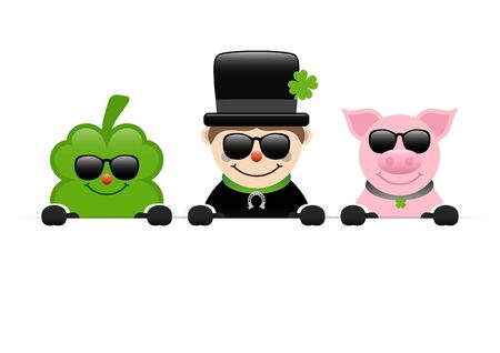 Clover Leaf Chimney Sweeper Holding Pig And Sunglasses Horizontal Banner 일러스트