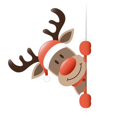 Reindeer Looking Left Horizontal Banner Light Red  イラスト・ベクター素材