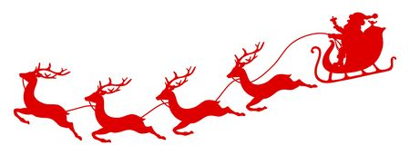 Curved Red Christmas Sleigh Santa And Four Flying Reindeer
