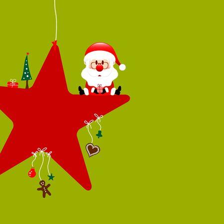 Square Santa Claus Sitting On Star With Icons Light Green Illusztráció