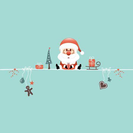 Square Sitting Christmas Santa And Icons Turquoise Illusztráció