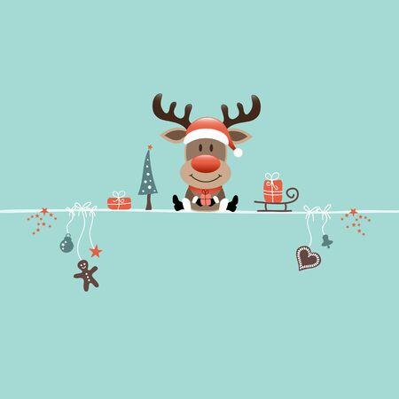 Square Sitting Christmas Reindeer And Icons Turquoise Illusztráció