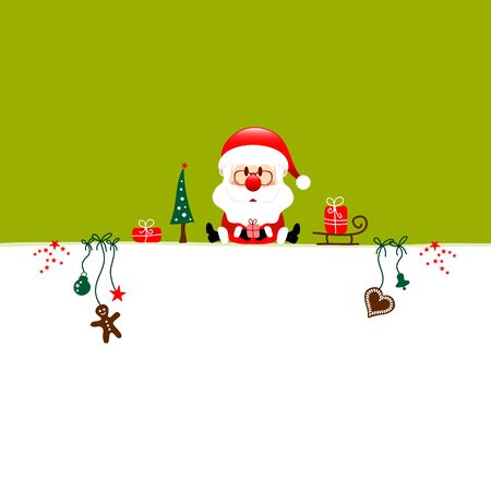 Square Christmas Santa Claus And Icons Light Green White