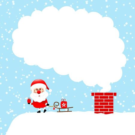 Left Standing Santa Claus With Sleigh On Cloud Of Cloud Snow Blue Illusztráció