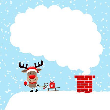 Left Standing Reindeer With Sleigh On Cloud Of Cloud Snow Blue Illusztráció