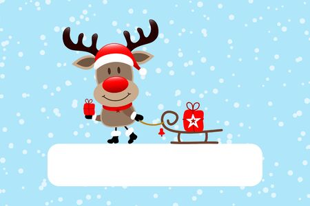 Gift Card Reindeer With Sleigh Snow Blue