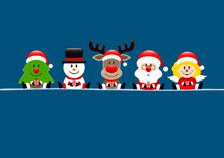 Dark Blue Card Tree Snowman Reindeer Santa And Angel Illustration