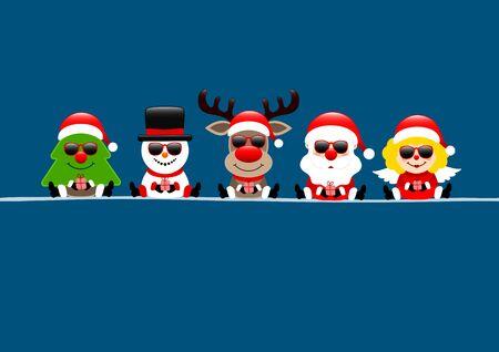 Dark Blue Card Tree Snowman Reindeers Santa And Angel With Sunglasses
