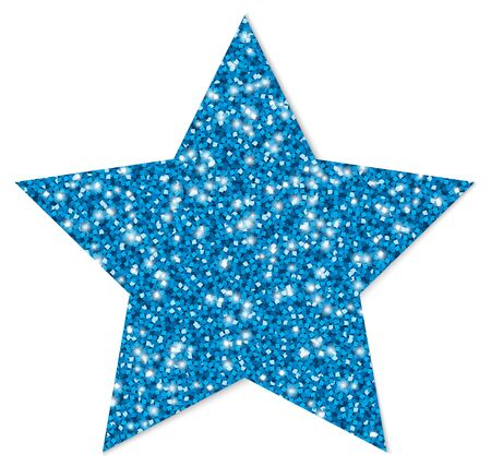 Single Blue Glitter Star Sparkling With Shadow