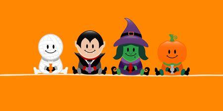 Banner Halloween Mummy Vampire Witch And Pumpkin Orange