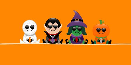 Banner Halloween Mummy Vampire Witch And Pumpkin Sunglasses Orange