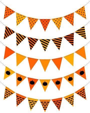 Set Of Five Pennant Chains Halloween Seamless Orange And Black Ilustração